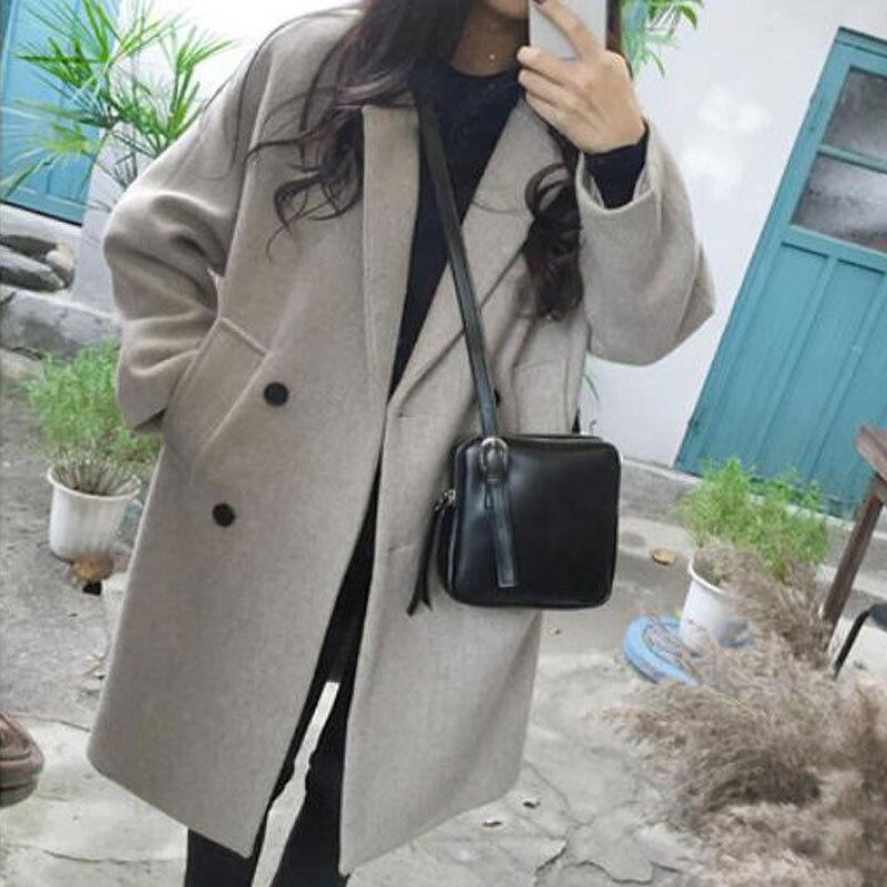 FOLOBE nuevo abrigo de mezcla de lana gruesa mujer de manga larga cuello vuelto prendas de vestir chaqueta Casual Otoño Invierno elegante sobretodo