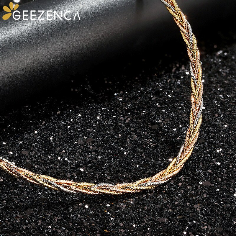 Italian Jewelry 925 Sterling Silver Gold Plated Choker Necklaces Three Color Four Thread Weave Necklace For Women Trendy Gift