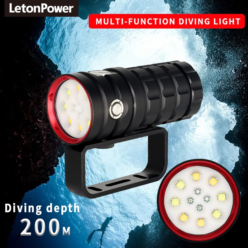 NEW LED Diving Flashlight 8 XHP50 25000Lumens Underwater 100m Waterproof  Photography Tactical Diving Light  Camera Video Torch enlarge