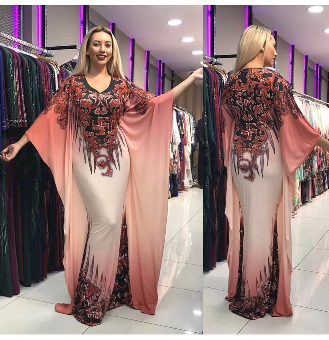 India Muslim Dress Women Batwing Sleeve Maxi Print Bazin Africa Islamic Clothing Robe Moroccan Kaftan Party Evening Vestidos