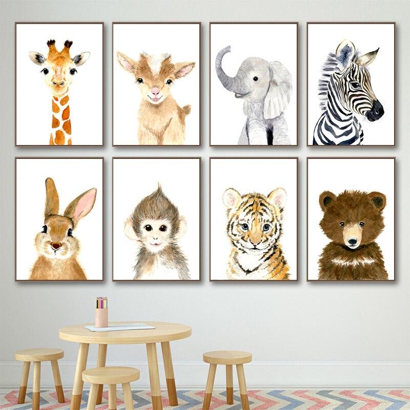 Arte de pared de guardería jirafa elefante cebra zorro conejo oso lienzo pintura carteles nórdicos e impresiones cuadros de pared decoración de habitación de niños