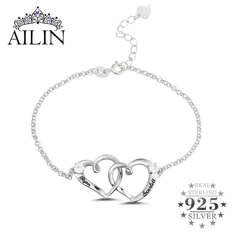 Wholesale Double Heart Bracelet In Gold Color Birthstone Bracelet Two Hearts Together Forever Bracelet Women