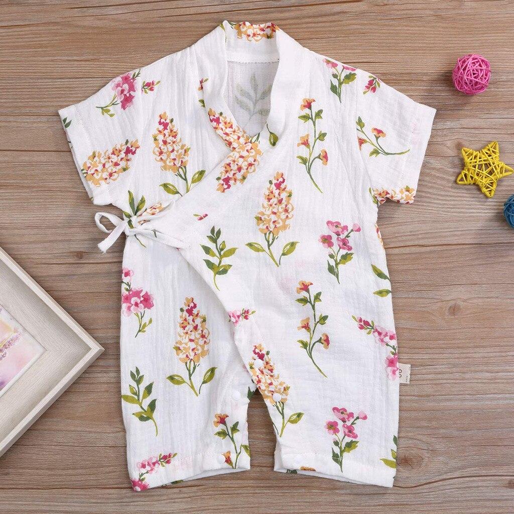 Newborn Infant Baby Kids Bodysuit Short Sleeve Cartoon Print Cardigan Kimono Baby Pajamas Climbing Suit new hot детские вещи 50*