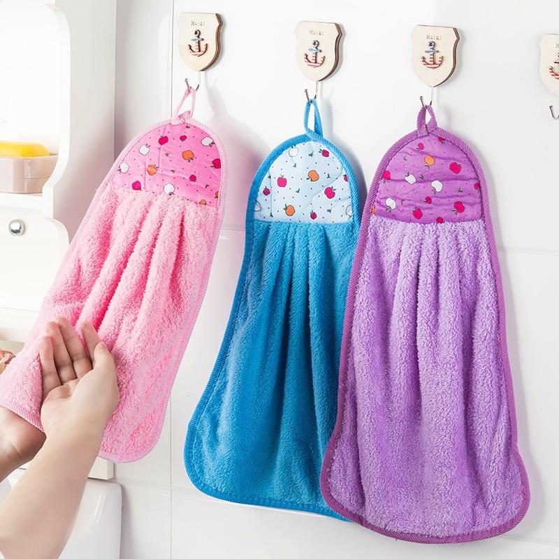 Pano macio toalha de limpeza algodão limpo toalha de mão pendurado cozinha banheiro grosso não-óleo-vara prato de lavagem rápida-seca toalha criativa