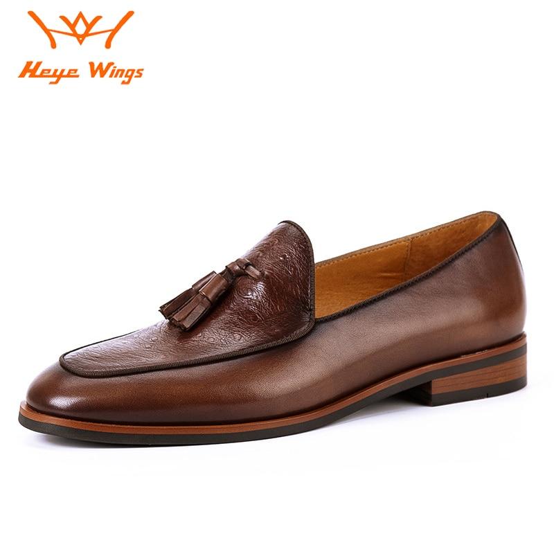 أحذية لوفر رجالية صناعة يدوية جلد طبيعي إيطالي فستان رجالي أحذية ريتو يدوية لون الفرشاة