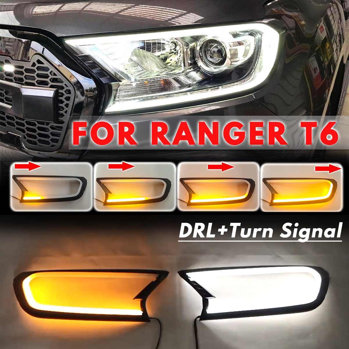 3 Estilo 2x LED cabeza de luz cubierta de cubierta frontal Trim para FORD RANGER T6 WILDTRAK 2015 2016 2017 2018 ABS campanas de lámpara