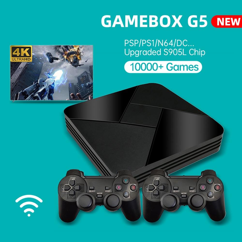 Powkiddy G5 صندوق الألعاب المصغرة وحدة التحكم محاكي 10000/15000 ألعاب واي فاي ريترو صندوق التلفزيون لعبة فيديو لاعب مع وحدات تحكم السلكية/اللاسلكية
