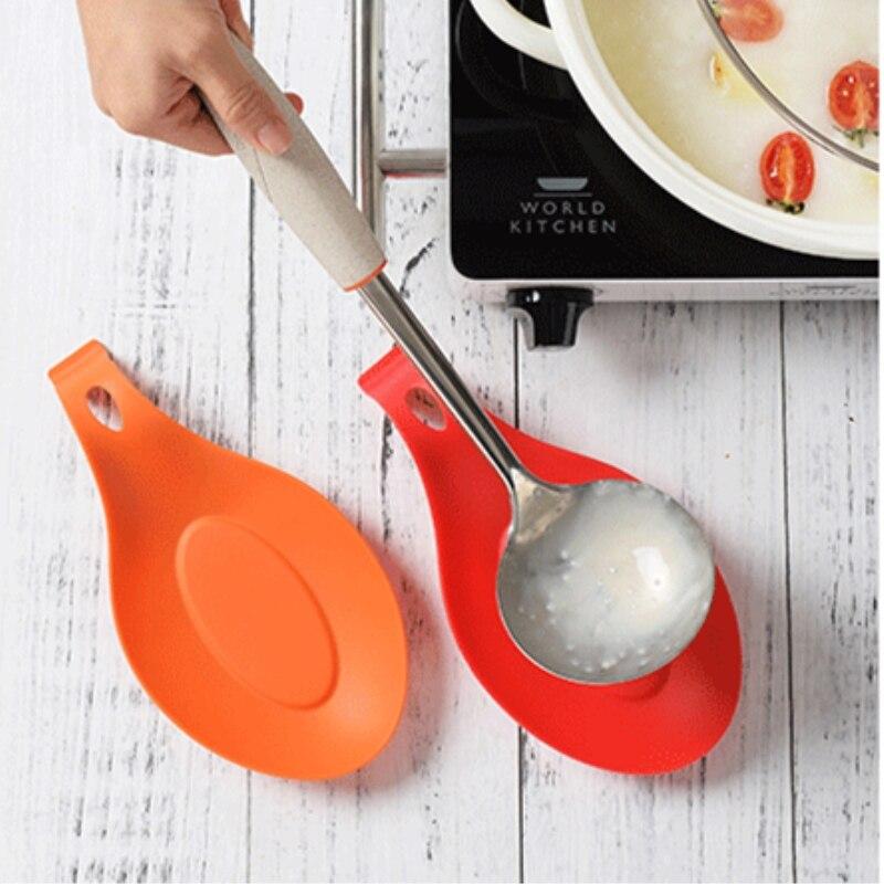 Pote de Gel ecológico, espátula, alfombrilla para cuchara, soporte para platos, almohadilla de silicona, Mantel Individual aislante, artículo de cocina resistente al calor 5zCF419