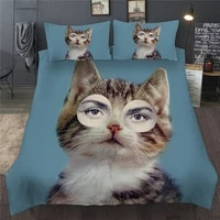 cute bedding set cat woman girl printed queen king bed clothes twin full single double duvet quilt cover set for adults