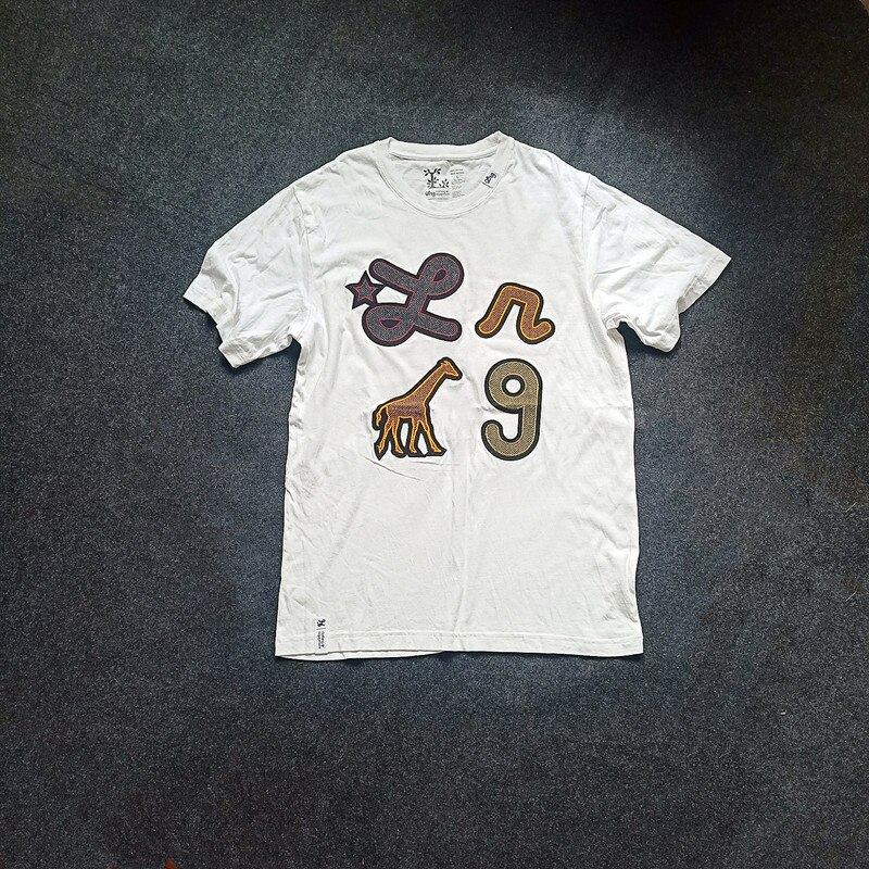 América Streetwear hombres blanco de manga corta de skateboard camiseta hommer jirafas stitch cuello redondo Hip Hop 100% camisetas de algodón puro