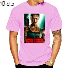 Tomb raider alicia vikander é laura croft ph308 unissex preto camiseta impressão dos homens curto camiseta homme tshirt