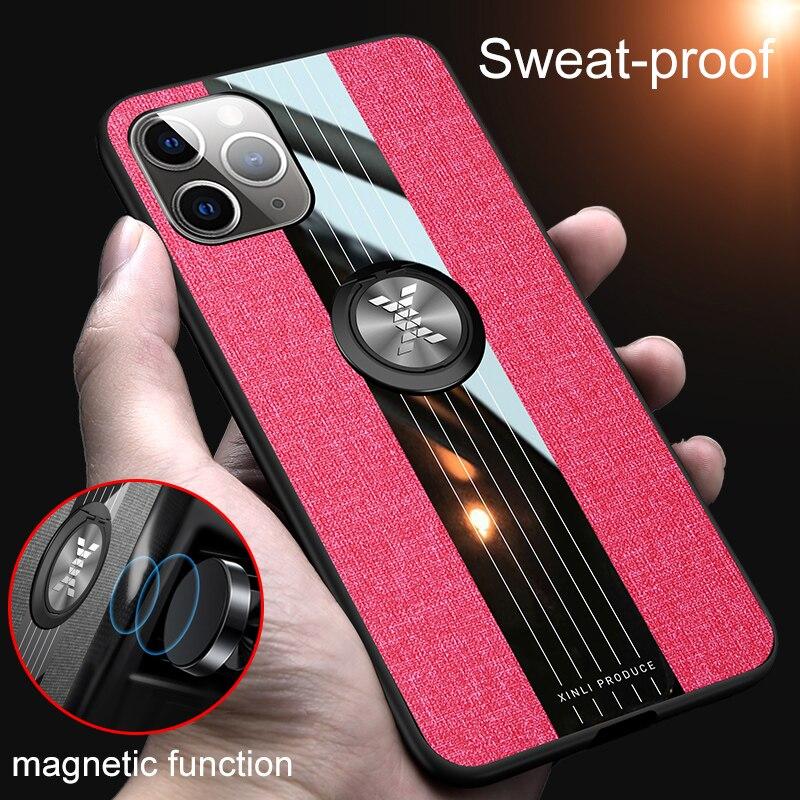Para iPhone 11 Pro Max X XS Max XR 6 6s 7 8 Plus Funda tela magnética anillo soporte Anti-caída transpirable refrigeración Funda