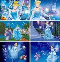 cartoon ice palace blue skirt princess picture background girl birthday party decoration photography studio photo backdrop cloth