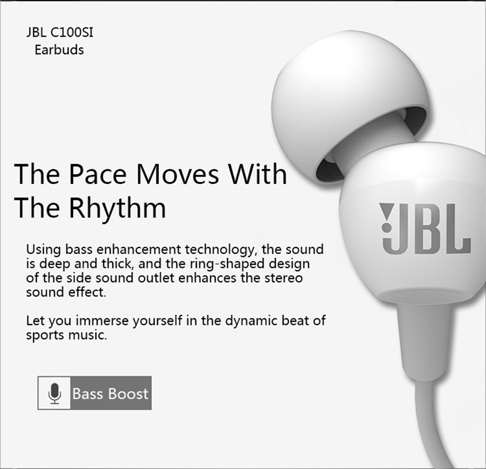 JBL C100Si Stereo wired headphones deep bass music motion 3.5mm earplug headset gaming headset Bluetooth headset enlarge