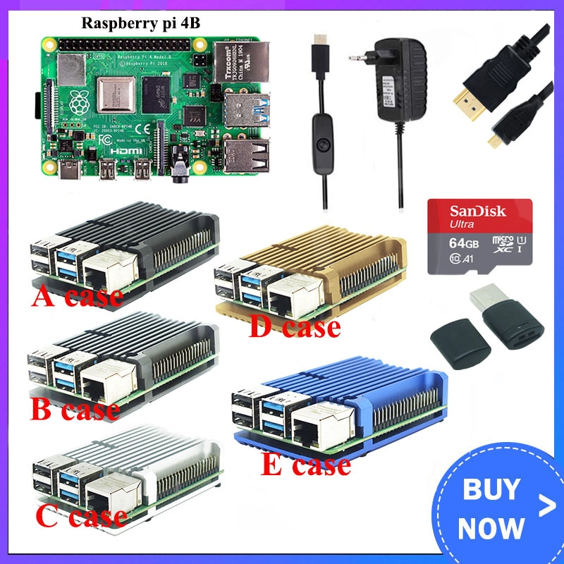 Raspberry Pi 4 Model B 8GB Kit + caja de aluminio + interruptor de alimentación 3A + Cable HDMI opción 64 32GB tarjeta SD   Lector