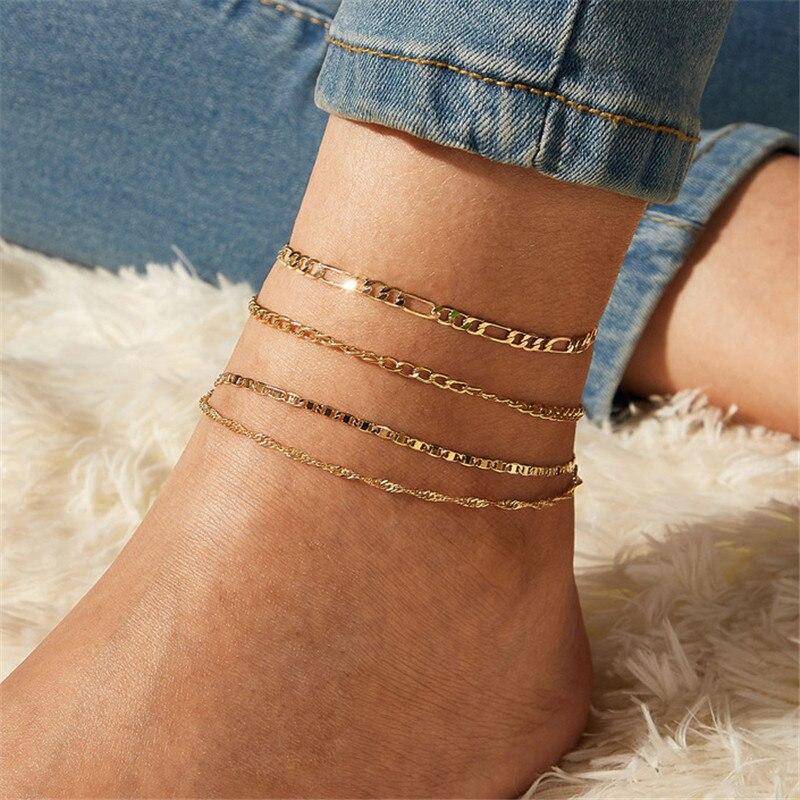 Letapi boho 4 pçs/set moda ouro cor tornozeleiras conjunto para mulheres multicamadas corrente tornozeleira pé pulseira praia tornozeleira jóias