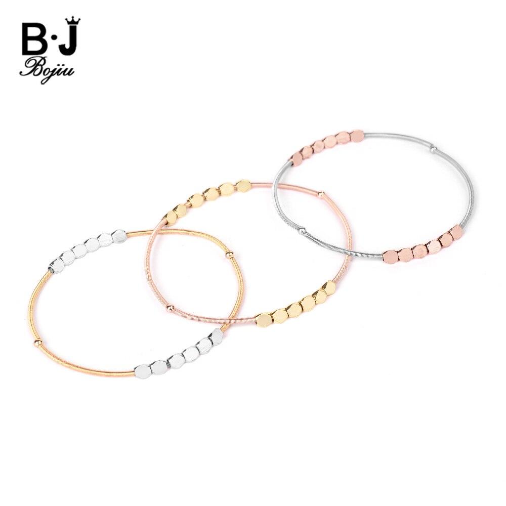 BOJIU New Elastic Steel Spring Bracelets For Women Adjustable Gold Rose Gold Silvery Faceted Copper Beads Bracelet Femme BC377