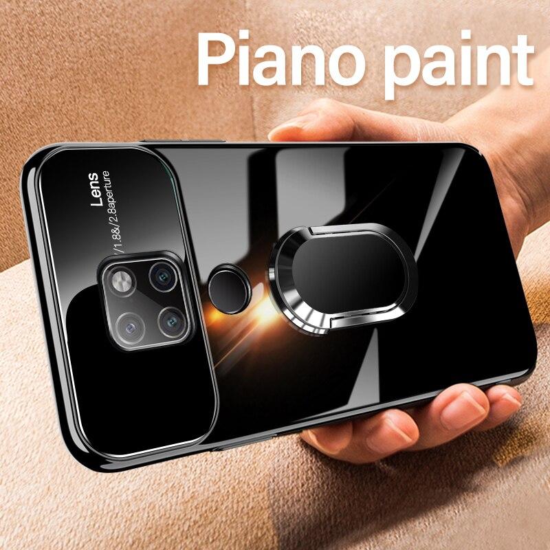 Funda de lujo para pintura de Piano para Huawei P20 Pro P30 Lite, funda de cristal con soporte magnético para anillo de coche para Huawei Mate 20 30 Pro 20X