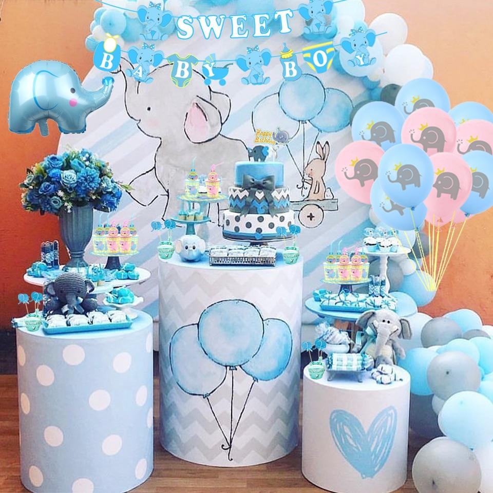 1 комплект, слон, детский душ/пол, украшение, Мультяшные воздушные шары, торты, коробка для конфет с днем рождения, день рождения, вечерние при...