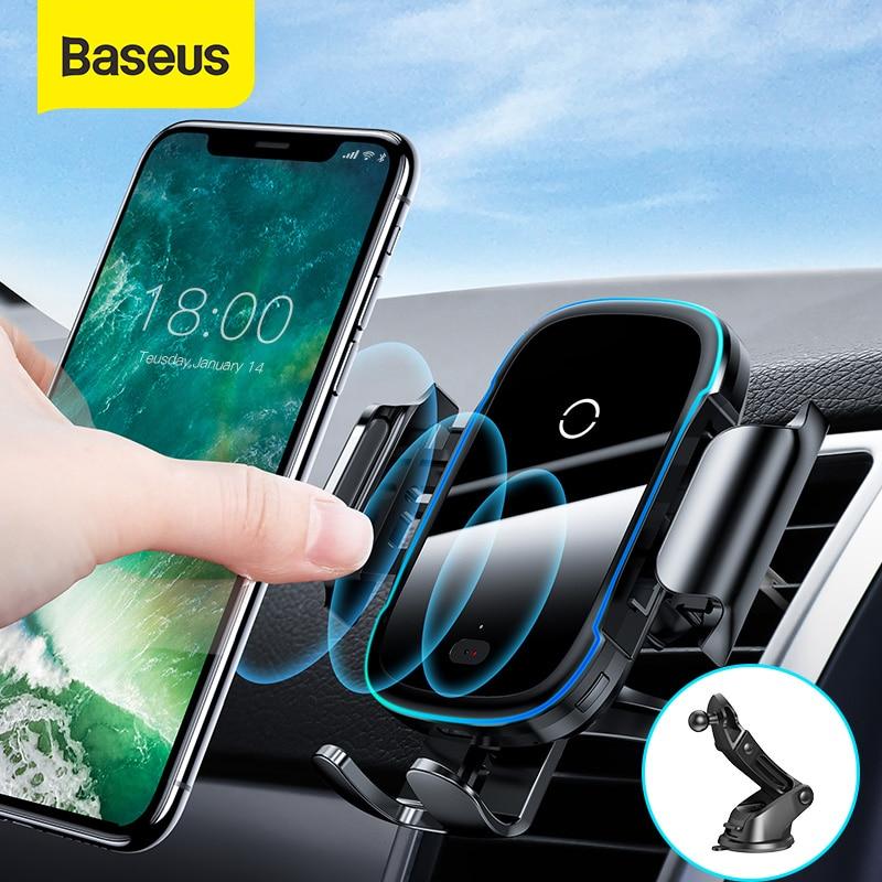 Baseus Wireless Car Charger For iPhone 11 Light Electric 2 in 1 Wireless Charger 15W Car Phone Holder For Huawei Samsung Xiaomi