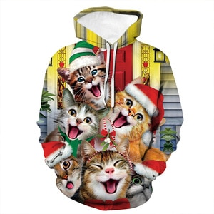 Unisex Lovely Cats Christmas 3D Digital Print Loose Hooded Sweater Pullover Women Men Xmas New Year Baseball Sweatshirt Hoodie