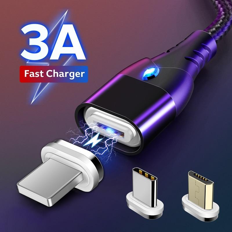 3A carga rápida 3,0 magnético Cable para iPhone 11 Samsung cargador rápido de carga de Micro USB tipo C imán cargadores de Teléfono Cable de datos