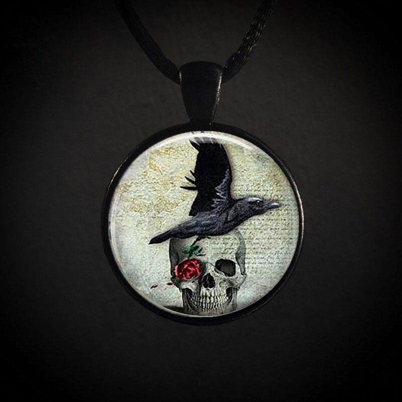 Cuervo cráneo y foto collar con colgante de Halloween regalo Retro nuevo...