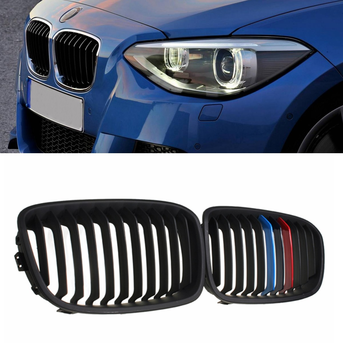 Par de parrilla de Color negro brillante, mate, rejilla de riñón para BMW F20 F21 1-series 2011