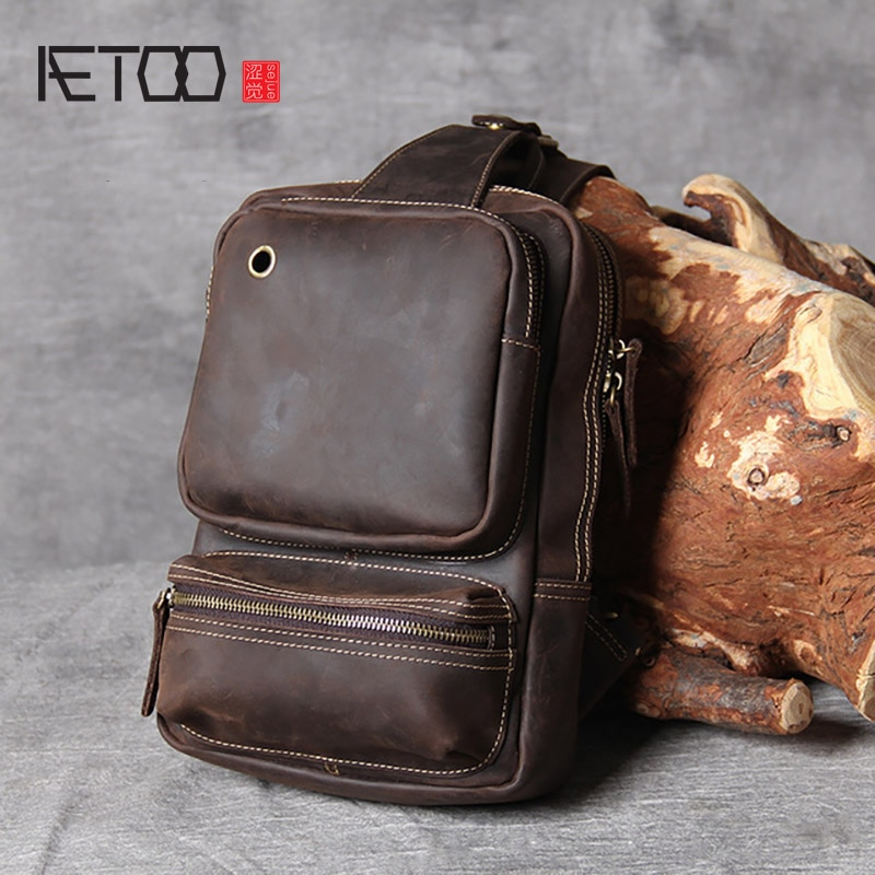AETOO Retro first layer cowhide large-capacity men's chest bag, crazy horse leather shoulder bag, leather messenger bag