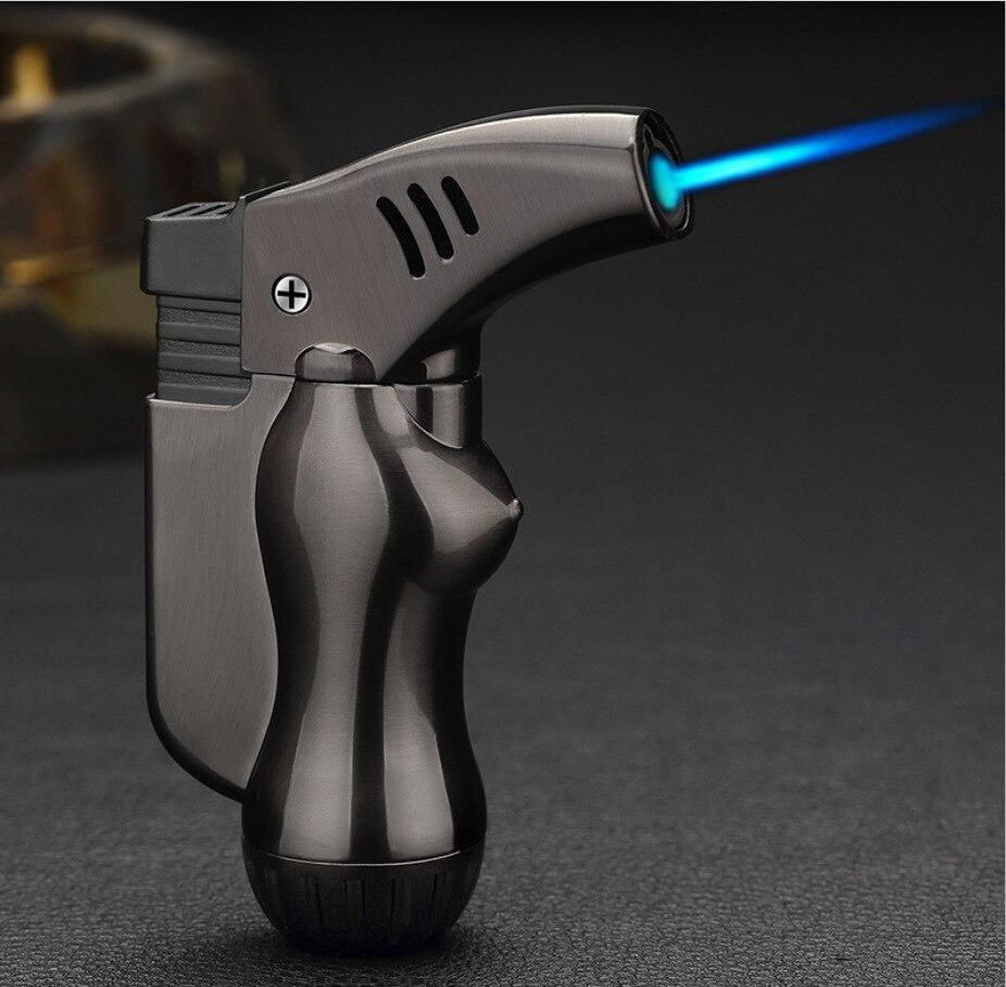 Torch  Cigarette Lighter Turbo Lighter 1 Jet Butane Gas Cigar Windproof Metal table Lighter For Kitchen and outdoor BBQ  JX055