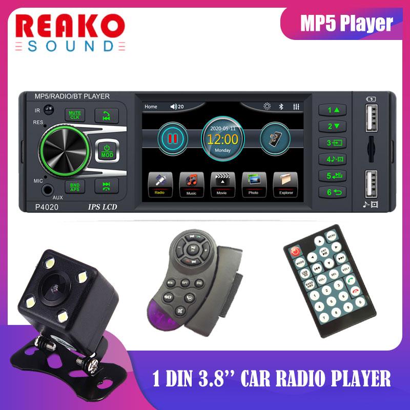 REAKOSOUND 1 Din 3.8 Universal Car MP5 Player Bluetooth FM Audio Stereo Radio Steering Wheel Control Auto Multimedias