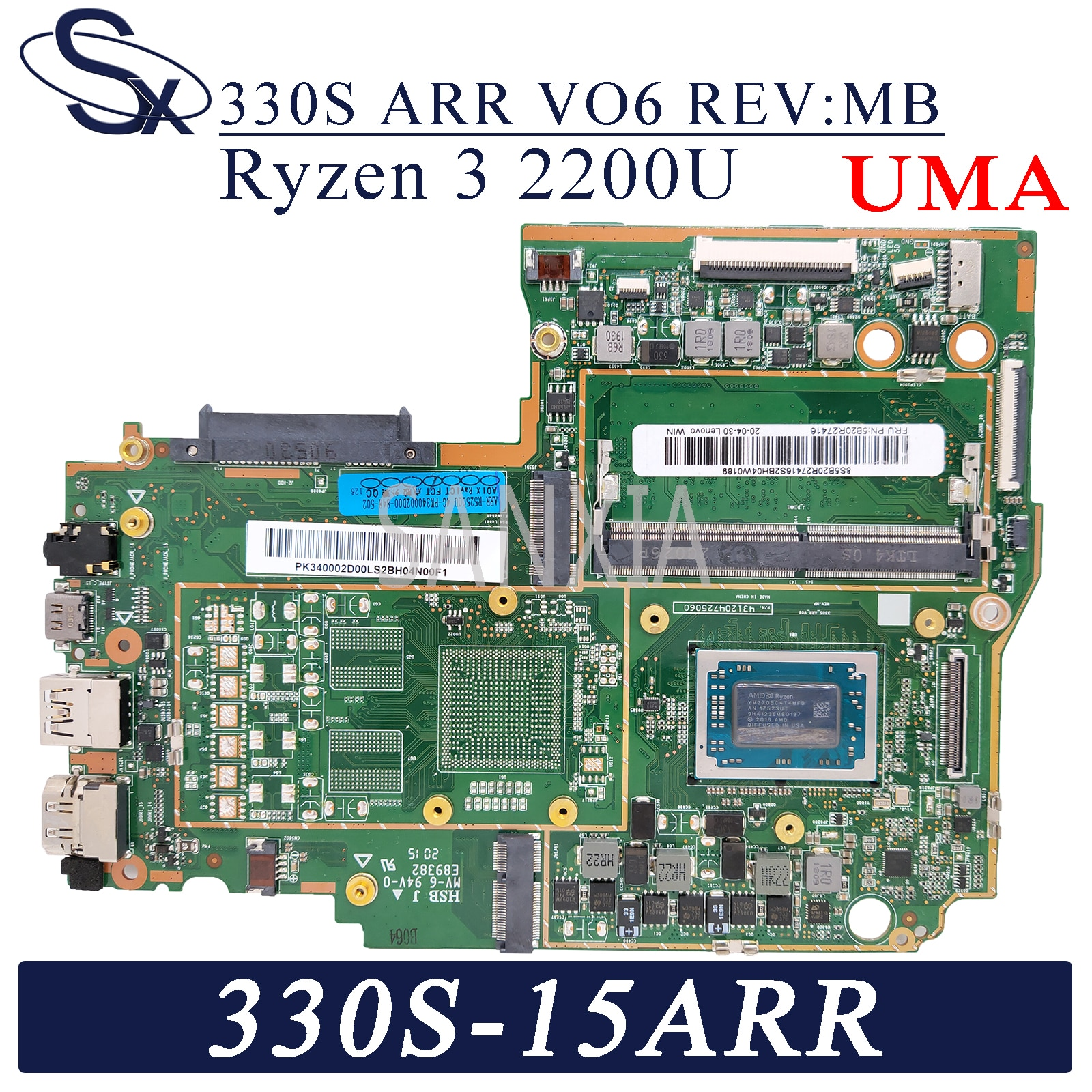 KEFU 330S_ARR_VO6 REV:MB اللوحة الأم لأجهزة الكمبيوتر المحمول لينوفو Ideapad 330S-15ARR 81FB اللوحة الرئيسية الأصلية Ryzen 3 2200U (R3-2200U) UMA