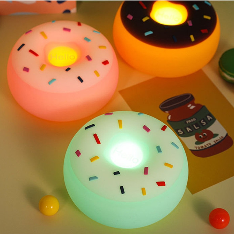 Avocado Rocket Rainbow Dinosaur Donuts Silicone Lamp Silicone Lamp LED Cartoon Pat Color Voice Control Induction Atmosphere Lamp  - buy with discount