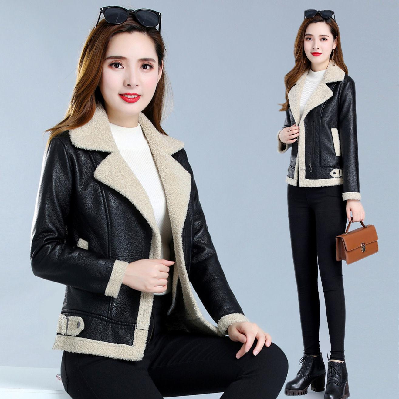 DUOFAN 2021 New Women Faux Lamb Wool Fur Leather Jacket Winter Warm Thickness Lamb Fur Black Punk Zipper Pu Jacket enlarge