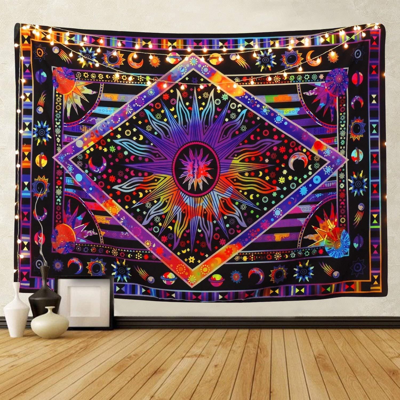 Tie Dye púrpura Burning Sun tapiz psicodélico Celestial Sun Moon Planet bohemio colgante de pared