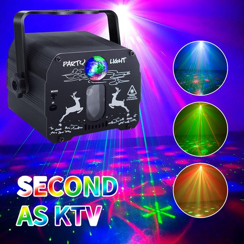 مصباح ديسكو صغير Dj جهاز عرض ليزر مصابيح حفلات مع التحكم الصوتي صوت حفلة ديسكو ضوء للمنزل الزفاف عيد ميلاد Dj الطابق