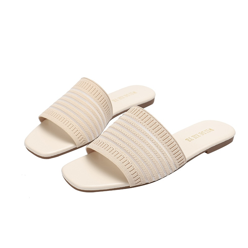 Cotton Fabric Ladies Slippers Slippers Luxury Flat Soft PU All-match Fashion Lazy Simple Cotton Sandals and Slippers