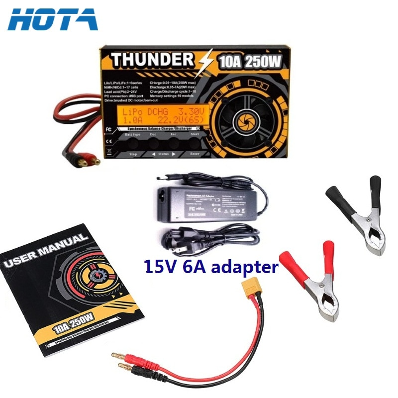 HOTA Thunder 250W 10A 300W 20A Balance Charger Discharger For DC LiPo NiCd PB 1-6s/17s Battery For R