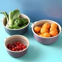 double plastic drain basket wash vegetable basin kitchen household living room fruit basket wash fruit vegetable basket