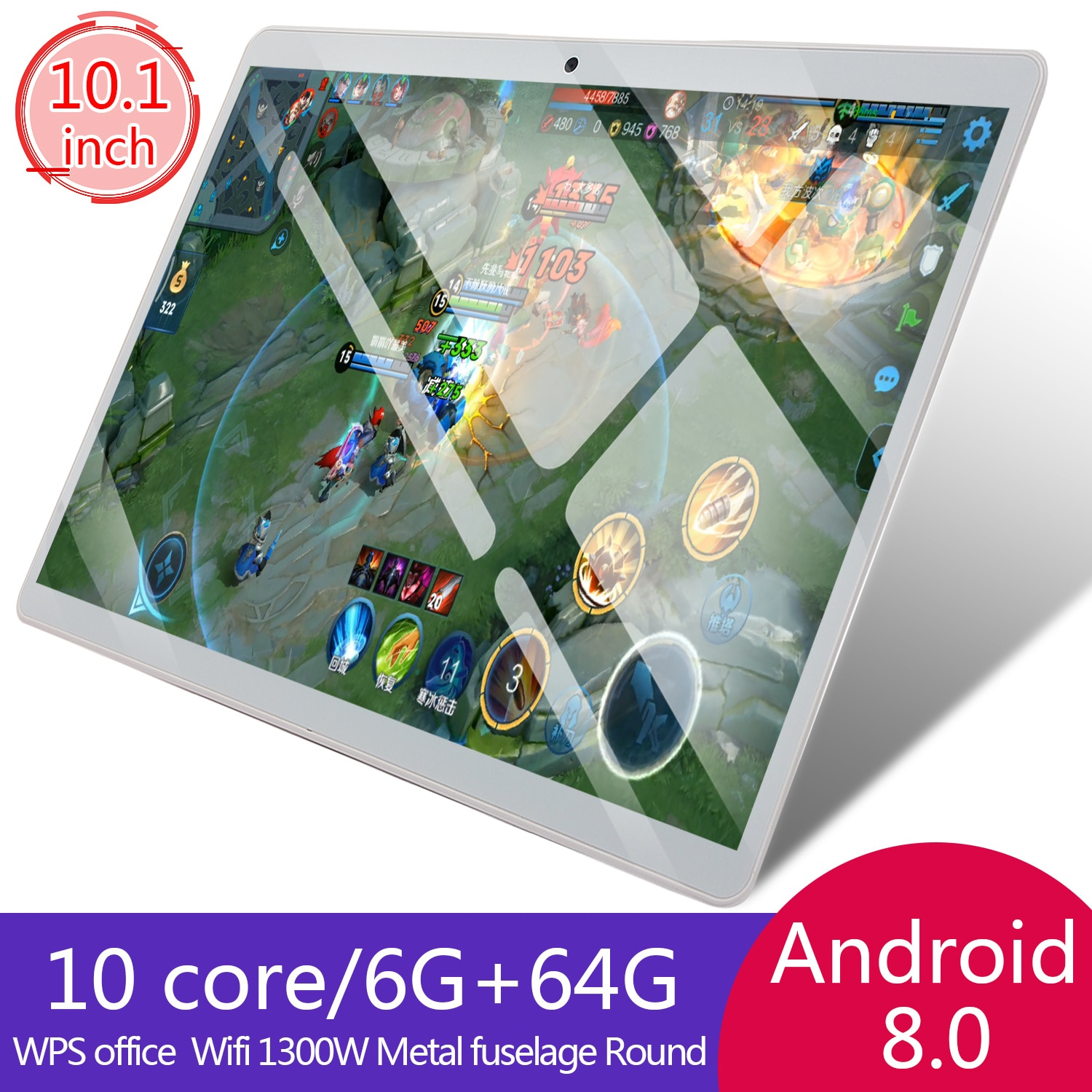 Tablet PC 10 Core6+64G 10.1inch Android 8.0 Google Play64G Phone Tablet PC WiFi Bluetooth GPS Tempered Glass Tablet PC 6G+64G