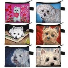 การออกแบบที่ไม่ซ้ำกัน Westie สุนัขภาพวาดเหรียญกระเป๋าสำหรับกระเป๋าเหรียญผู้หญิงสาวลิปสติกกร...