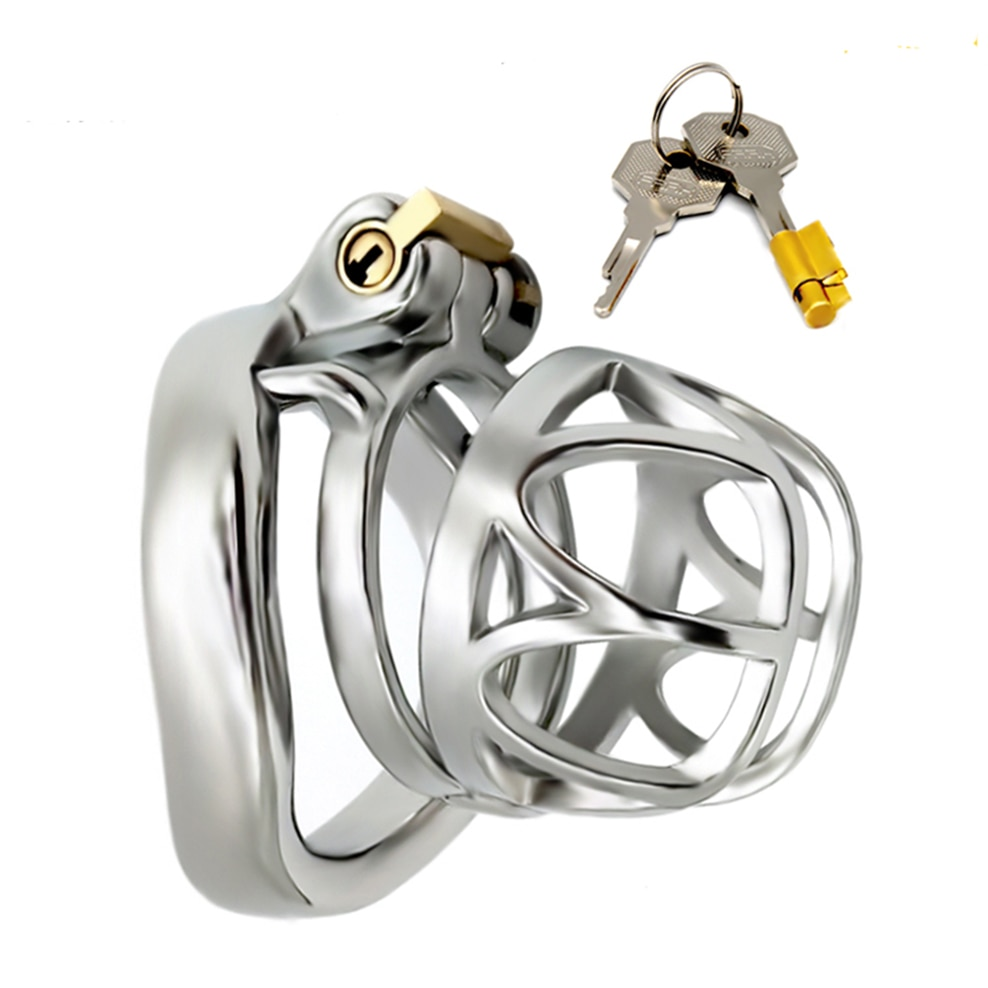 FAAK Male Chastity Device Bondage Cock Ring curved Stainless Steel Penis Cage Cock Cage Sex Toys for Men Adult Toys Penis Sleeve gay chastity device cock cage 5 size rings sex products for men brass lock number tags sex toys cock ring male chastity belt