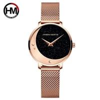 new design model arrival japan miyota 2035 quartz movement stainless steel wristwatch moon stars night flash watches for women