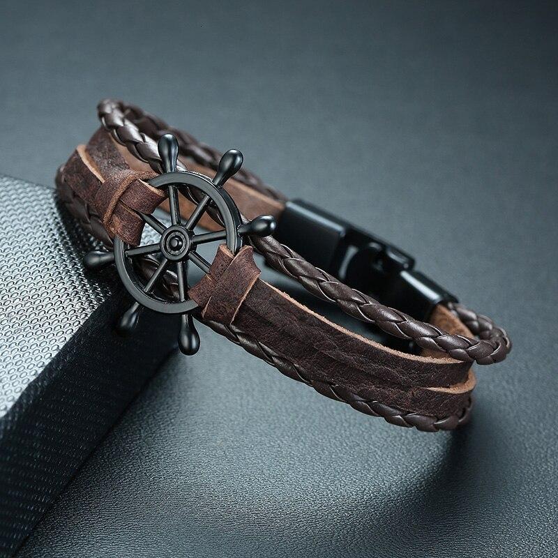 Ruder Leder Armband Herren Multilayer Wrape Writs Seil Armbänder Armreifen Pulseira Masculina