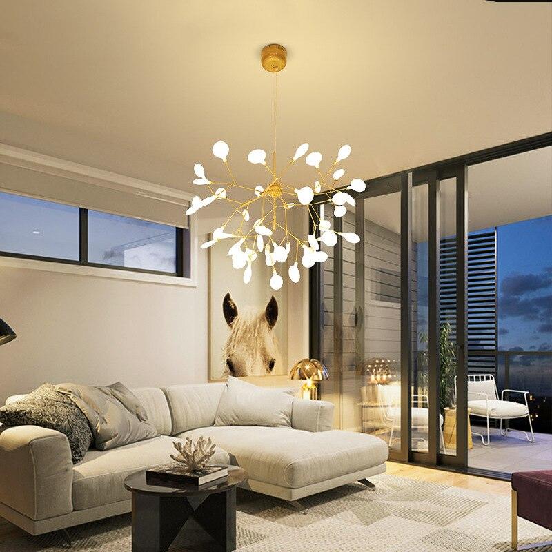 Lámparas de araña de techo LED rama de árbol dorado lámpara colgante Lustres para accesorios de iluminación luces de sala de estar luces de cocina techo