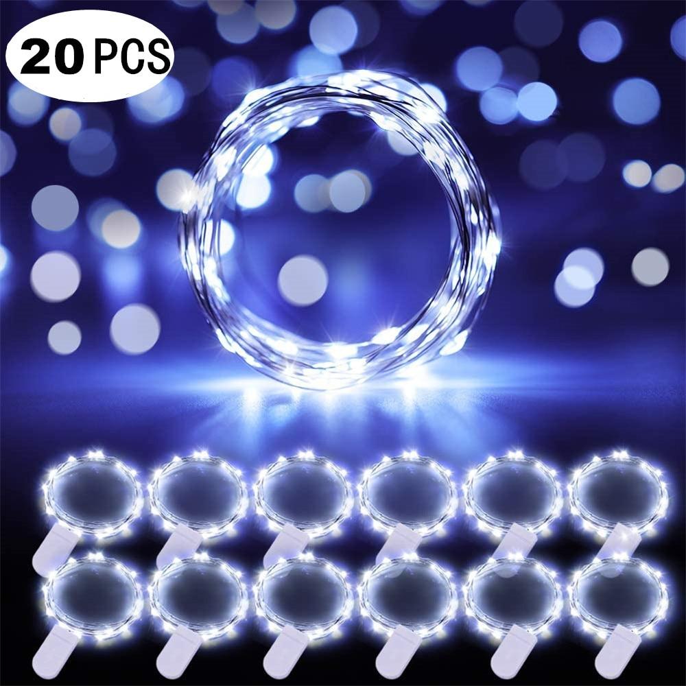 20 piezas 20 luces LED con cordones de luces estrelladas alimentadas por batería para Navidad, luces de alambre plateadas de cobre para fiesta, dormitorio, artesanía de boda