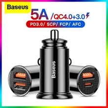Baseus USB Car Charger Quick Charge 4.0 QC4.0 QC3.0 QC SCP 5A PD Type C 30W Fast Car USB Charger For