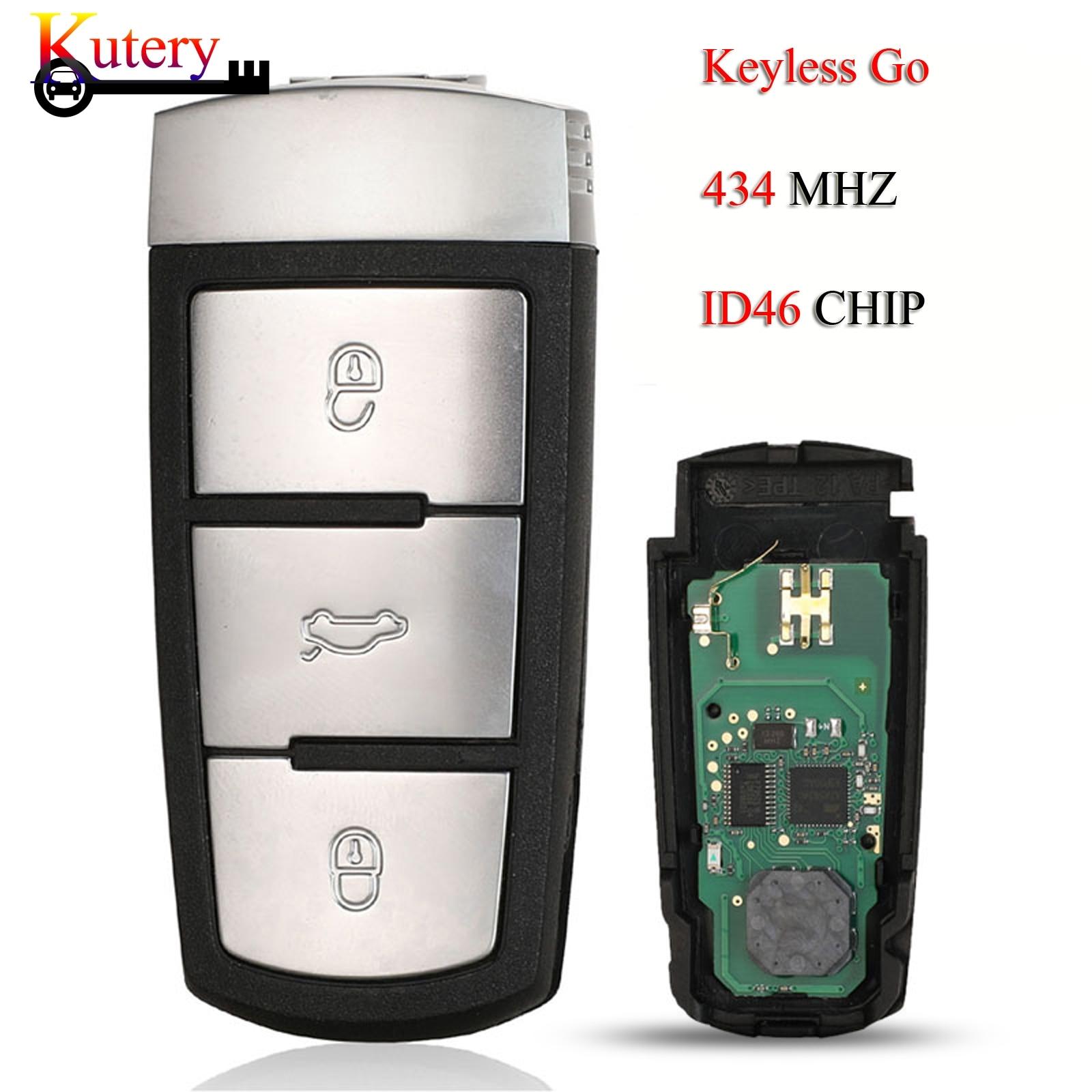 Kutery keyless-go chave do carro remoto para volkswagen vw passat cc magotan 3 botões 434mhz id46 pcf7936 chip 3c0959752bg