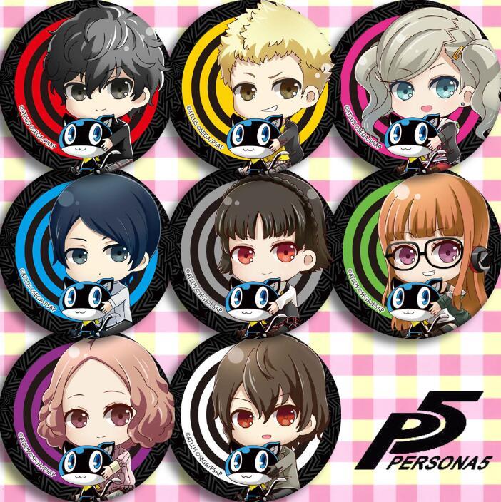 8pcs/1lot Anime Persona 5 Amamiya Ren Goro Akechi Morgana Figure 5087 Badges Round Brooch Pin Gifts Kids Toy