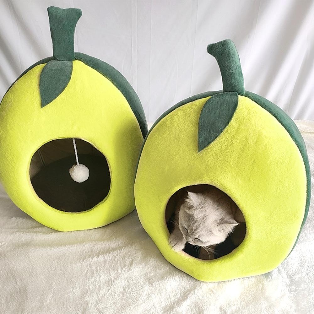 Linda Cama de Gato casa caliente cachorro gatos camas de dormir Mat pequeños perros y gatitos cojín nido Banana aguacate forma de gato casas